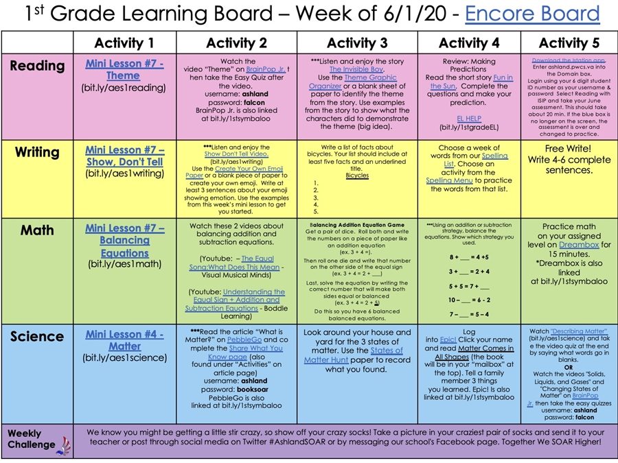 Learning Board 6.1.20